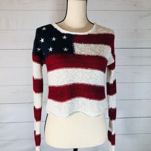Forever 21 Crop Top Americana Sweater Size Sm